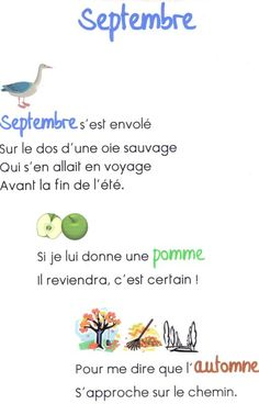 cheznounoucricri - Page 122 French Poems, French Quotes, September Activities, Kindergarten Activities, Teaching Language Arts, Teaching Art, Poems About School, Montessori, French Education