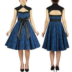 6aa479a95868 Archaize Floral Print Dress Chicstar Blue Retro Swing Dance Pinup Vintage  50s