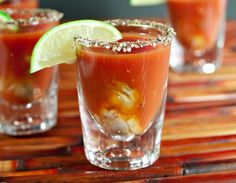 Bloody Mary Oyster Shots - CDKitchen.com - An oyster is placed in the bottom of a shot glass and topped with a classic bloody Mary mixture. Serve as a cocktail or an appetizer.
