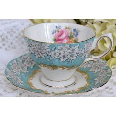 Vintage Royal Albert Fine Bone China Tea Cup and Saucer, Enchantment,... ($39) ❤ liked on Polyvore featuring home, kitchen & dining, drinkware, tea cup and saucer, tea cups, gold tea cup, bone china and vintage tea cups