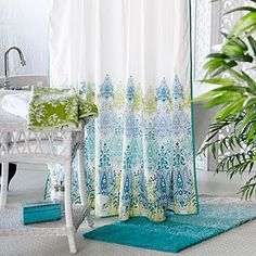 For my Mommy's bathroom Blue/Green Print Shower Curtain | World Market, $29.99