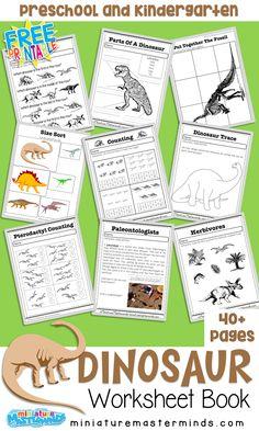 Free Dinosaurs Preschool and Kindergarten Work Book
