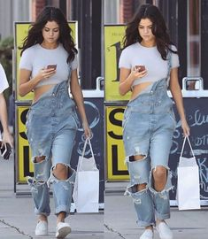 #SelenaGomez out there shopping and rocking that denim overall.       Follow Pin: @alinafashinova for more SG styles.