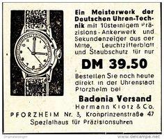 Original-Werbung/ Anzeige 1950 - BADENIA UHREN - VERSAND PFORZHEIM - ca. 50 X 45 mm