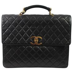 c3edd7de042a Chanel Maxi Jumbo Lambskin Leather Briefcase / Attaché, Black
