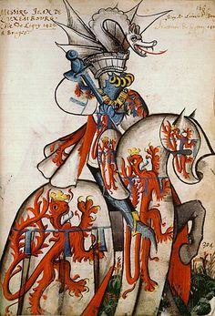 ( - p.mc.n.) Jean de Luxembourg, Grand Armorial équestre de la Toison d'Or, Flandres, 1430-1461.