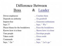 Here's a great article from Forbes.com about the value of good leadership within a company. Are you a leader, or a boss? Boss Vs Leader, Leader In Me, Leadership Skill, Leadership Quotes, Effective Leadership, Student Leadership, Leading From Behind, Bad Managers, Environment Quotes