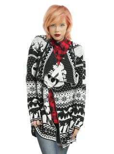 <p>Jack Skellington may be all bones, but he'll try to keep you warm when you wear this flyaway cardigan!Black and white cardigan from Tim Burton'sThe Nightmare Before Christmas with an allover intarsia knit design featuring Jack, snowflakes, bats, a graveyard and more!</p>  <ul> <li>100% acrylic</li> <li>Wash cold; line dry</li> <li>Imported</li> <li>Listed in junior sizes</li> </ul>