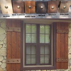 Stained cedar shutters exterior shutters Board and Batten Cedar Shutters, Rustic Shutters, Diy Shutters, Exterior Shutters, Primitive Shutters, Cottage Shutters, Farmhouse Shutters, Window Shutters, House Siding