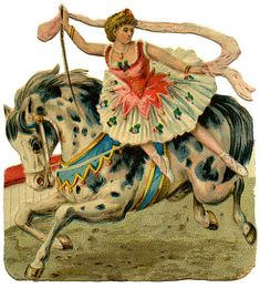 Vintage Graphic - Circus Girl on Horse - The Graphics Fairy