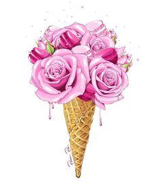 by Rina Rusyaeva Eis Tattoo, Watercolor Flowers, Watercolor Art, Art Mural Fashion, Colorful Apartment, Fashion Wallpaper, Watercolor Illustration, Cute Drawings, Pink Roses