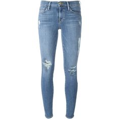 Frame Denim Distressed Skinny Jeans (12,405 THB) ❤ liked on Polyvore featuring jeans, pants, bottoms, blue, destructed skinny jeans, blue ripped jeans, destroyed jeans, skinny leg jeans and torn skinny jeans