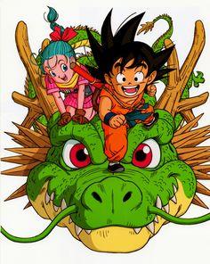 Bulma, Young Goku and Shenron