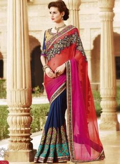 Angelic multicolor georgette chiffon Embroidery work wedding saree http://www.angelnx.com/Sarees