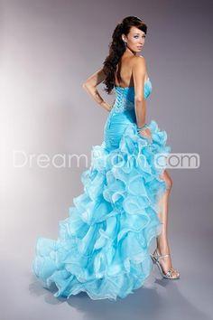 Brilliant A-Line Strapless Organza Tiered Ruffles Prom Dresses