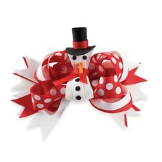 For an added touch of festive style to your child's hair, this Snowman Bow by Mud Pie is a perfect holiday accessory. The red and white hair bow has a removable center snowman clip, for wearing separately or all together for a spirited look. Christmas Hair Bows, Girls Christmas Outfits, Baby Girl Christmas, Christmas Ornaments, White Hair Bows, Ribbon Hair Bows, Baby Nursery Furniture, Nursery Room Decor, Mud Pie