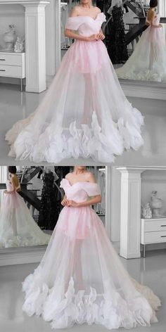 Pink Tulle wedding dressSee Through Prom Dresses Off Shoulder bridal dress floor length party gowns Prom Dresses 2018, A Line Prom Dresses, Formal Evening Dresses, Quinceanera Dresses, Elegant Dresses, Pretty Dresses, Bridal Dresses, Beautiful Dresses, Cool Dresses