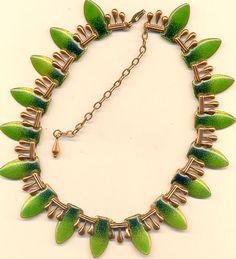 vintage matisse copper green enamel necklace