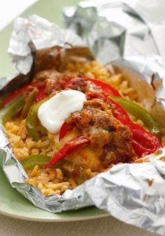 Foil-Pack Chicken Fajita Dinner -- From chicken breasts to peppers, salsa and shredded cheese, this delectable recipe has it all--made in a foil pack that's easy on the cleanup crew!
