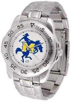 McNeese State Cowboys NCAA Mens Sports Steel Watch by SunTime. $54.95. Links Make Watch Adjustable. Officially Licensed McNeese State Cowboys Men's Stainless Steel Logo Watch. Stainless Steel-Scratch Resistant Crystal. Men. Calendar Function With Rotating Bezel. This handsome eye-catching Mens Sport Watch with Steel Band comes with a stainless steel link bracelet. A date calendar function plus a rotating bezel/timer circles the scratch resistant crystal. Sport the bol...