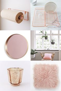 Get a dash of rose quartz pink: paper towel rack and wire kitchen foldable dish rack from west elm; quilted pink pillow from ferm living; mongolian lamb pillow cover in rosette, from west elm; mercury tealights in rose gold from west elm; and mirror la vie en rose, by designer hervé langlais from architectural digest.