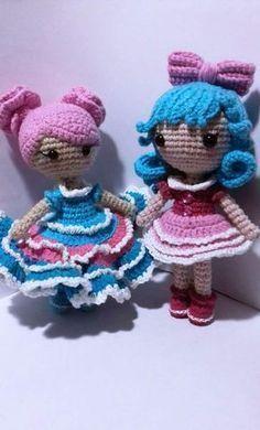 Pouco padrão de amigurumi de boneca de crochê