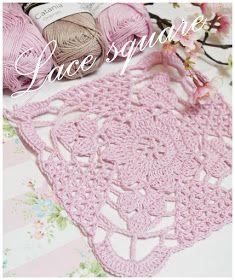 Pattern tip box Crochet Motif Patterns, Crochet Blocks, Granny Square Crochet Pattern, Crochet Squares, Baby Knitting Patterns, Granny Squares, Diy Crochet Doilies, Crochet Snowflakes, Crochet Flowers
