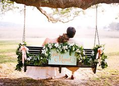 Just married.  :)  i love the swing and the garland.