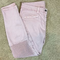 Zara medium rise skinny ankle jeans Great condition, lots of stretch for comfort. Lots of details, cute rushing details on knees. 28 in inseam, ankle length. The color is a faded pink. Zara Jeans Skinny