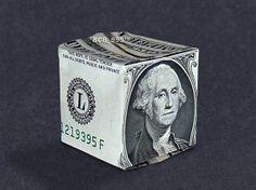 Money Origami CUBE - Dollar Bill Art