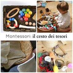 Montessori: il cesto dei tesori Montessori Baby, Maria Montessori, Montessori Activities, Infant Activities, Activities For Kids, Baby Games, Games For Kids, Diy For Kids, Baby Play