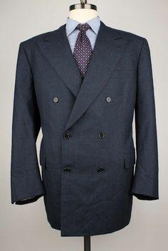 $3295+ Brioni Dark Blue Grey Modest Striped Double Breasted 44 R mens Sport Coat