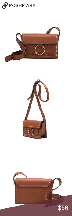 "Cherie Mini Studded Crossbody Melie Bianco  Premium Vegan Leather Fold Over Snap Closure Middle Zipper Front Slim Pockets Interior Zipper Pocket Dimensions: 8.5""L x 6""H x 3""W Colors: Tan Melie Bianco Bags Crossbody Bags"
