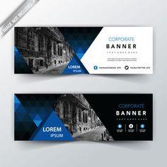Blue geometric back and front web banner Free Vector Banner Design Inspiration, Best Banner Design, Web Design, Prospectus, Facebook Cover Design, Construction Logo Design, Logos Retro, Digital Banner, Digital Signage