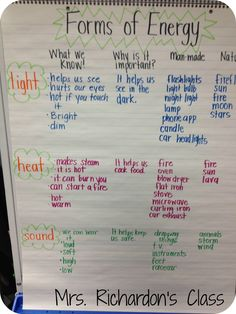 Mrs. Richardson's Class: Energy!! Great ideas for learning about energy and the different types.