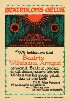 Nederlands Koningshuis. Origineel herinneringsdrukwerk/geboorteaankondiging van prinses Beatrix met tekst die de naam Beatrix verklaart. Nederland, 1 februari 1938, Paleis Soestdijk, Baarn.