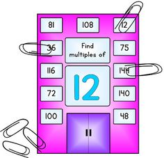 This is a set of 33 self correcting clip cards. The cards are in a skyscraper/tower theme. Simply use a clothespin or paper clip to find which windows of the tower have the multiples for the number on the card. There are 3 different cards for each number from 2 to 12.