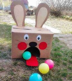 Easter Bunny Ball Toss Activity. Use a huge carton box and make it into the Easter bunny shape. Leave a big fan shaped hole and glue its tongue from red painted cardboard. Stand five feet from the Easter Bunny carton and throw colorful balls toward it. Count how many balls you can throw in. http://hative.com/fun-easter-activities-and-games-for-kids/