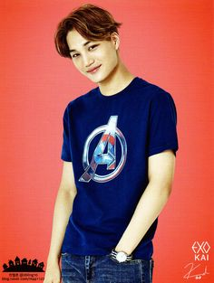 KAI // SPAO<<lookie, he's wearing an avengers shirt!!