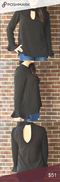 2 SM 1 MD 1 LG! FINAL PRICE! Black Keyhole Blouse Become sultry and sophisticated in this top!! 70% Cotton 30% Polyester  PRICE FIRM. no offers. No trades. Tops Blouses