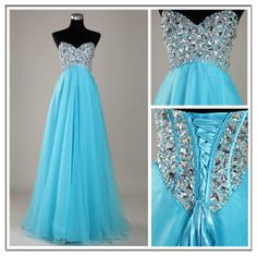Custom Made A line Blue Sweetheart Floor Length Prom by chinamaker, $135.00