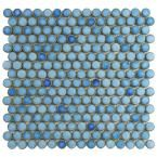 Penny Round 12 in. x 12-1/4 in. Cobalt Porcelain Mesh-Mounted Mosaic Tile-FKOMPR43 at The Home Depot