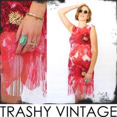 vtg 90s 20s FLORAL sheer SCALLOP LACE CUTOUT crochet FRINGE FLAPPER mini dress S $24.00