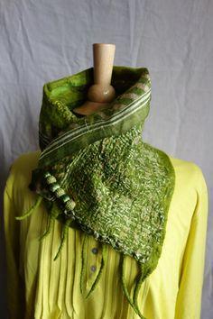 silk neck wrap nuno felted scarf green felt neck by hipposinhats