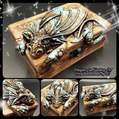 Handmade Dragon chest polymer clay Fimo art artwork artist