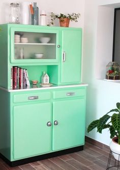 DIY relooking avant apres : mon buffet mado vintage recup vert menthe