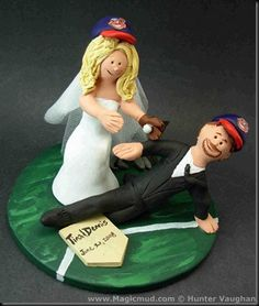 Baseball Players Wedding Cake Topper   Your Safe!!!!…