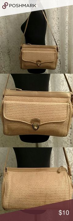 """👜 SHOULDER PURSE Natural Color, Good Size Purse in EUC. Feels like Cotton, faux wicker look, large front section w/gold tone turn latch, soft gold faux leather trim & 24.75"""" long strap, 2 large inner sections, Solid Center Section Separator, 1 zippered pocket, Zipper main opening. Maybe used 1x, no rips, pulls, tears or stains. 💰 Bundle -n- $ave 📮 Ship Same Day Mon-Sat by 3 pm EST Bags Shoulder Bags"""