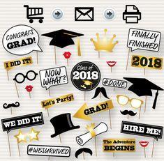 Graduation Photo Booth Printable Props 2017 Graduation Party by SurpriseINC Graduation Decorations, Graduation Banner, Graduation Caps, Preschool Graduation, Diy Banner, Graduation Photos, Photo Booth Props Graduation, Graduation Ideas, Party Props