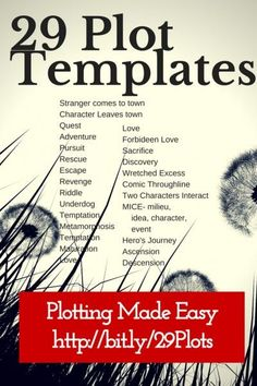 29 Plot Templates make plotting easy. If you choose the right template and customize it for your story, you're way ahead on the plotting game.
